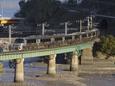 破瀬ノ浦の鉄橋を行く「かもめ」
