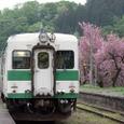 春の根知駅にて