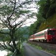 桜並木を行く「九州横断特急」