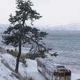 雨晴海岸を行くハットリくん列車