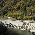 飛騨川沿いを進む普通列車