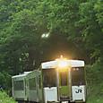 新緑のカーブを行く普通列車