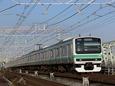 利根川を渡る231系快速電車