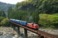 玖珠川の渓谷を行くブルートレイン