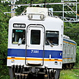 草茂る道を進む普通電車
