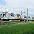 実り近し水田を行く普通電車