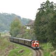 谷縁を行くレトロ列車